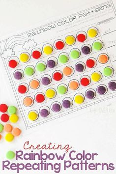 Create rainbow patterns with this simple free printable pattern guide. Creating patterns is taught to preschool, kindergarten, and early elementary students. Get your free printable and let your students get started with color patters. Use colorful and fun manipulatives to make patterns like candy! Why? Because doing math with candy is always fun! #preschoolmath #kindergartenmath #elementarymath #patterns #colorfulpatterns #rainbowpatterns #repeatingpatterns Rainbow Activities, Preschool Learning Activities, Color Activities, Preschool Math, Fun Math, In Kindergarten, Toddler Preschool, Math Games, Preschool Ideas