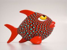 Papier mache pop art fish, crafted by hand one by one. Papier mache pop art fish, crafted by hand one by one. Paper Mache Clay, Paper Mache Sculpture, Paper Mache Crafts, Sculpture Projects, Art Projects, Fish Wall Art, Fish Art, Fish Fish, Mascara Papel Mache