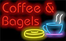 Coffee & Bagels Neon Sign by Coffee Neon Signs. $269.00. This Neon Sign features Red Letters with a Yellow, Blue, White & Purple Graphic and measures 32 wide x 20 high. Priced lower than ever, this sign can be delivered to you in just a few days!