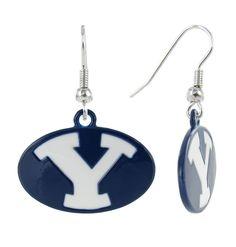 Navy BYU Oval Y Fish Hook Earrings