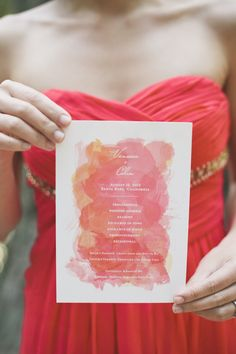Watercolour invite  Read More: http://stylemepretty.com/2013/10/21/orange-themed-wedding-in-griffith-woods-from-onelove-photography/
