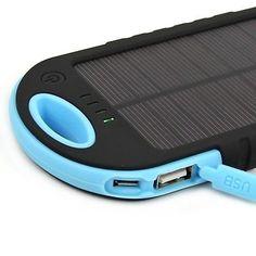 5000mAh 2 USB Solar Panel Charger Power Bank External Battery Backup For Phones