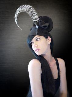Black Felt Avant Garde Sculptural Hat/Fascinator by pookaqueen, $158.00