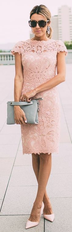 Blush Lace Dress; Grey Clutch, Pink patent Heels, Sunglasses, Earrings || What…