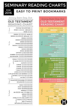 Old Testament Reading Charts for LDS Seminary Students printable bookmarks
