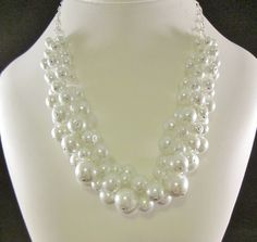 Bright White Cluster Pearl Necklace. Party Pearls! This lovely glass pearl cluster necklace will add the finishing touch to any outfit from