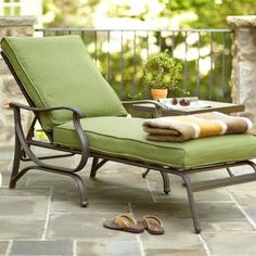 Hampton Bay, Pembrey Patio Chaise Lounge With Moss Cushion, At The Home  Depot   Mobile