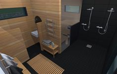 Monikäyttöisen saunasiiven sisustussuunnitelma. Tervaleppää ja mustaa laattaa.