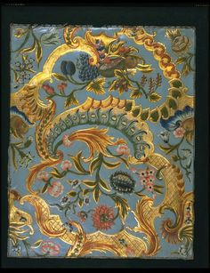 Embossed gilt leather panel, painted with alternating bunches of flowers and fruits on top of gilt rocailles and scrollwork. Painted in red, green, blue, grey and brown on a blue ground with touches of a red glaze. ca. 1740-1770, Netherlands | V Museum, London