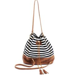 Leather Bucket bag Drawstring bag Canvas and leather bag