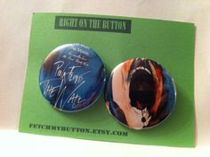 Pink Floyd The Wall - Pin Back Buttons - vintage guitar book  -  found object art - 2.25 inches on Etsy, $5.00