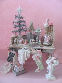Miniature shabby chic Christmas table by Sandra Manning