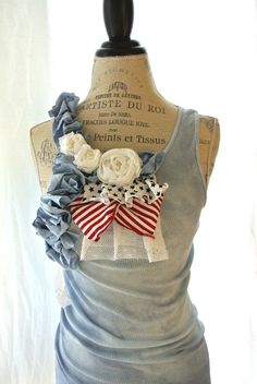 Romantic 4th of july tank tunic red white by TrueRebelClothing, ($50.00) *but I will DIY one of my own...