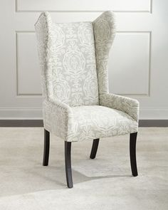 Shop Callie Embroidered Wingback Chair at Horchow, where you'll find new lower shipping on hundreds of home furnishings and gifts. Cheap Dining Room Chairs, Dining Room Chair Cushions, Outdoor Chair Cushions, Leather Dining Room Chairs, Living Room Chairs, Wingback Chair, Dark Blue Living Room, Entry Furniture, Pedicure Chairs For Sale