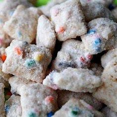 Cake Batter Puppy Chow-this stuff is like CRACK!