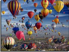 Balloon Festival and Sandia Mountains in the distance. Yearly event in Albuquerque, New Mexico.