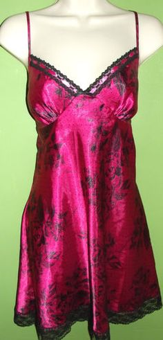 Large Apt. 9 Pink and Black Baby Doll Chemise Night Gown Black Baby Dolls 81158d729