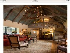 Dilbeck architect. Love the ceiling height, wood plank ceiling