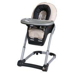My little one loves sitting in it: The Graco Blossom Highchair.