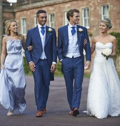 Chose the perfect style of wedding suit for the biggest day of your life. Blue Suit Summer Wedding, Royal Blue Suit Wedding, Wedding Morning Suits, Wedding Suit Hire, Best Wedding Suits, Wedding Tux, Wedding Attire, Wedding Dresses, Wedding Waistcoats