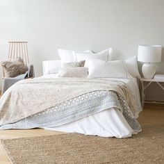 COTTON AND JACQUARD LINEN BEDSPREAD AND CUSHION COVER - Bedspreads - Bedroom | Zara Home United Kingdom