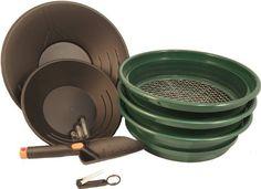 nice Gold Prospecting Set - 3 Sifters / Classifiers, 2 Gold Pans, Glass Vials, Tweezers & Trowel