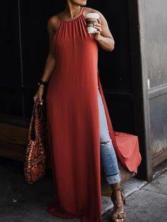 Shop Solid Halter Side High Slit Loose Maxi Dress right now 361ab96d8972
