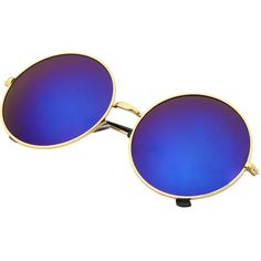 Blue Mirrored Lenses Retro Round Sunglasses ($7.99) ❤ liked on Polyvore featuring accessories, eyewear, sunglasses, blue, mirror lens sunglasses, mirrored lens sunglasses, round sunglasses, retro eyewear and rounded glasses