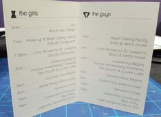 Bridal Party Wedding Day Schedule Itinerary Pocket by GinaMDesign.... PERFECT for all weddings. Make sure your bridal party knows where to be & when on the big day. This eliminates so much stress for everyone - ESP the bride & groom!