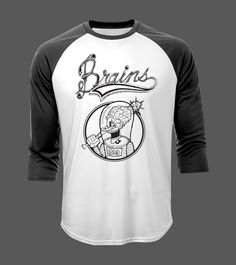 Features Brains print on front. Psychobilly, Baseball, Tees, Cotton, Mens Tops, T Shirt, Fashion, Moda, T Shirts
