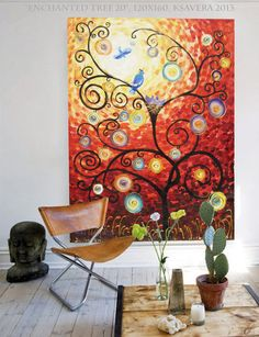 Large painting 48x64 Enchanted Red forest tree by KsaveraART, €250.00