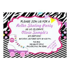 Roller Skate Birthday Invitations Roller Skating Party Zebra Birthday Invitation