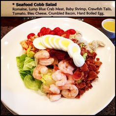 One of my favorite salads to eat @grace17.20  The Seafood Cobb..Lots of #protein #dairyfree #glutenfree Add a light dressing on the side and easy on that bacon  I copied the salad toppings above so you can make at home. Shrimp crawfish boiled egg and crab:) #celiac #fit #fitness #foodallergies #training #organic #healthy #healthyfood #instafood #eathealthy #fitgirl #gym #workout #paleo #cleaneating #tasty #food #fitwithfoodallergies #lifestyle by fitwithfoodallergies