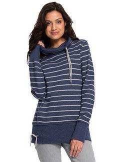 b61685200d9d Fair trade Pullover Frauen Tube Collar cord stripes blau grau Bio Baumwolle  vegan organic cotton fashion