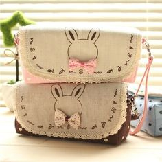 """Butterfly Knot"" Linen Zip Around Pencil Case Box Cosmetic Makeup Bag Wallet"
