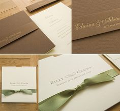 Samples of the more classic pocket invitations with ribbon.
