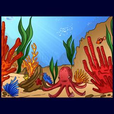 """Learn How to Draw a Coral Reef FREE Step-by-Step Online Drawing Tutorial , Other, Landmarks & Places free step-by-step drawing tutorial will teach you in easy-to-draw-steps how to draw """"How to Draw a Coral Reef"""" online., Added by Dawn, November pm Painting For Kids, Painting On Wood, Painting Tips, Drawing Skills, Drawing Guide, Drawing Lessons, Coral Reef Drawing, Part Of Hand, School Murals"""