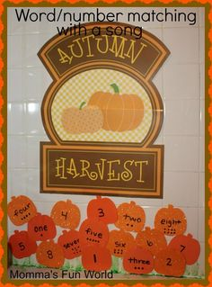 Pumpkin patch number/word learning with a song