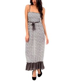 Charcoal & White Wave Shirred Maxi Dress - Women #zulily #zulilyfinds