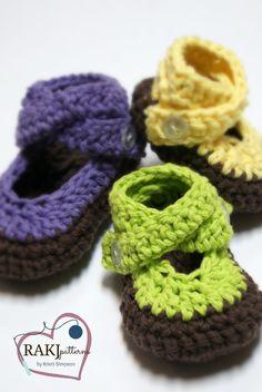 Easy Shoe Pattern! NEW! Crochet Pattern Strappy'do Sandals in 3 sizes Instant Download Pattern RAKJpatterns