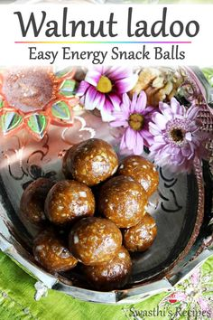 Delicious, wholesome & nutritious walnut ladoos that are free from refined sugar and ghee. These snack balls are great to enjoy for a snack anytime! Quick Snacks, Healthy Snacks, Healthy Recipes, Vegetarian Recipes, Healthy Eating, Besan Laddu Recipe, Diwali Snacks, Walnut Recipes, Vegetarische Rezepte