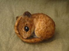 Needle felted harvest mouse and wolf for Mike by Ainigmati -  SOLD
