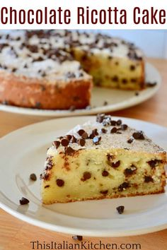 Traditional Italian Chocolate Chip Ricotta Cake is easy to make and so flavorful. Don't miss this simple and delicious Italian Ricotta Cake! #ricottacake #chocolatechipcake