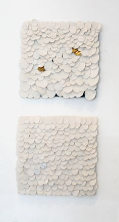"""Recheng Tsang wall pieces """" Study for Ovals"""" , glazed and fired porcelain on industrial felt. Gallery Lulo."""