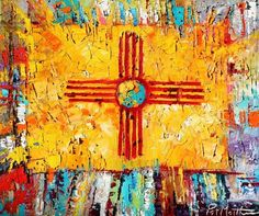 ZIA painting by painter Patrick Matthews in Santa Fe. The zia is the symbol on the state flag for New Mexico. I love the mix of colors and textures, not to mention the power of the symbol. New Mexico Flag, Travel New Mexico, New Mexico Style, New Mexico Homes, Mexico Art, Flag Painting, Santa Fe Style, Southwest Art, Southwest Style