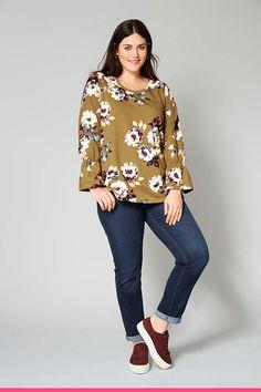 Kukkatunika on kaunis vaate vuoden ympäri. Plus Size, My Style, Sweatshirts, Long Sleeve, Sleeves, Tops, Women, Fashion, Tunic
