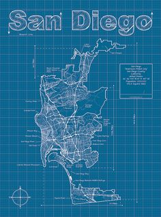 Denver map original artwork denver map art wall art san diego artistic blueprint map by maphazardly on etsy malvernweather Image collections