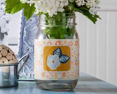Mod Podge Jar craft for to use as an autumn centerpiece, vase or snack jar.