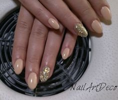 Nude beige, gold glitter nails