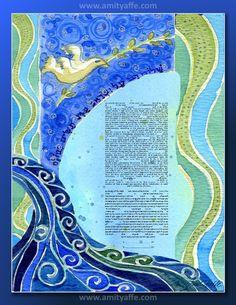 CUSTOM KETUBAH Ketubahs  Jewish wedding contract by AmitJudaicaArt, $180.00